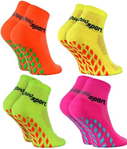 Rainbow Socks - Jungen Mädchen Neon Sneaker Sport Stoppersocken - 4 Paar - Orange Grün Rosa Gelb - Größen: EU 30-35