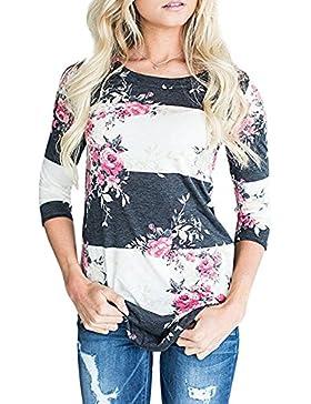 [Patrocinado]Tomwell Primavera Verano Mujer Impresión Rayas Talla Grande Camiseta Mangas Largas Blusa Elegante Blusa Tops