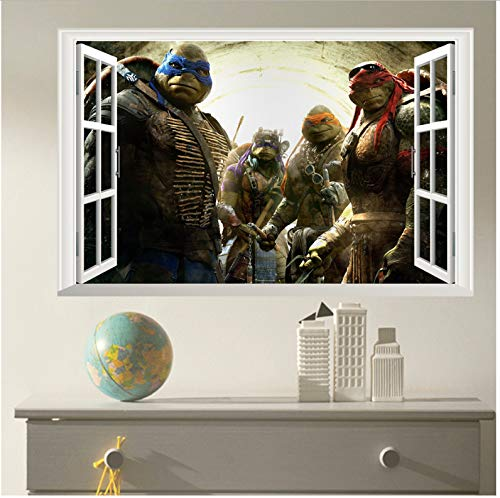 Teenage Mutant Ninja Turtles Junge Kinder Baby Kinderzimmer Dekoration Cartoon Wandaufkleber 3D Fenster Wandkunst Dekor Wandbilder Aufkleber