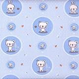 Kinderstoff – Teddybären und Kaninchen (Blau) - 100%