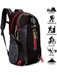 40L Lightweight Hiking Backpack, Baishiqi Multi-functional Water-resistant Casual Camping Trekking Rucksack for Cycling Travel Climbing Mountaineer Outdoor Sport
