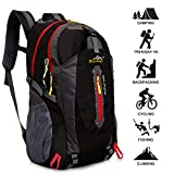 40L Lightweight Hiking Backpack, Baishiqi Multi-functional Water-resistant Casual Camping Trekking Rucksack for Cycling Travel Climbing Mountaineer Outdoor Sport - Black