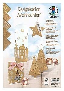 Ursus Caja de cartón de diseño navideño, 5 Hojas de cartón 250 g/m², DIN A4, Surtido en 5 diseños, Impreso por una Cara y Acabado de láminas, para decoración, Paquetes de Regalo y diseño de Tarjetas.