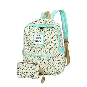 2Pcs Casual Canvas Backpack for Girls School Bag Kids Book Bags for Teen Girls (Beige 2)