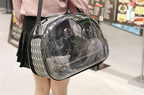 Paquete de mascotas Transparente Transparente Transpirable Viaje salir Mochila para Gato y Perro 42 * 26 * 35 cm , Gray