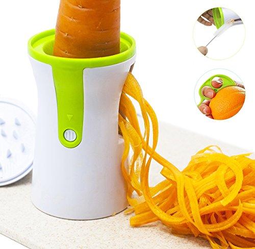 Cortador en Espiral Vegetal Cortador de Verduras de Mano  Chinansia Zucchini Spiralizer Pelador de Espárragos Rallador de Zanahoria Cortador de Patatas  Con Cepillo de Limpieza y Pelador de Naranja(Blanco)