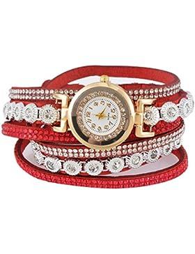 Souarts Damen Geflochten Korea Samt Armbanduhr Jugendliche Mädchen Armreif Uhr mit Batterie Zifferblatt 40cm Rot