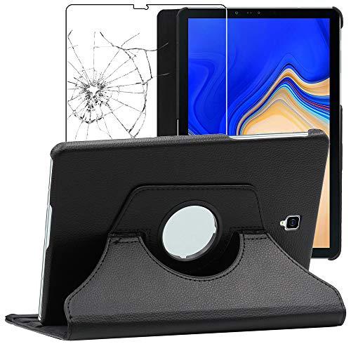 ebestStar - compatibel Samsung Galaxy Tab S4 10.5 Hülle SM-T830, SM-T835 Rotierend Schutzhülle Etui, Schutz Hülle Ständer, Rotating Case Stand, Schwarz + Panzerglas [Tab: 249.3 x 164.3 x 7.1mm 10.5