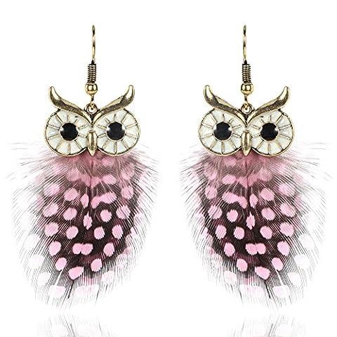 Women Modern Alloy Feather Owl Dangle Drop Earrings Pink
