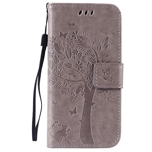 C-Super Mall-UK Apple iPhone 5 / 5S / SE coque, gaufré Arbre félin Papillon Modèle PU Cuir Portefeuille flip Stand coque pour Apple iPhone 5 / 5S / SE (gris)