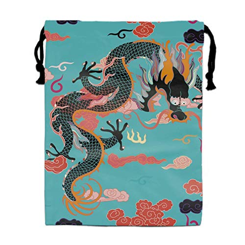 Einst Dragon Teal Pattern Turnbeutel Rucksack Bags Goody Bags Party Favor Bags Supplies for Boys and Girls