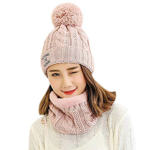 JMETRIC Damen Beanie|Strickmütze|Bommelmütze |Wintermütze |Gestrickt Verdicken Wintermütze |Mütze Schal zweiteilig |Mode Wärme