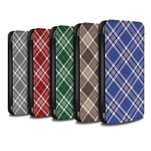 Stuff4 Coque/Etui/Housse Cuir PU Case/Cover pour Apple iPhone SE / Bleu Design / Tartan Pique-Nique Motif Collection Pack 12pcs