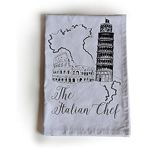 Amore Beaute Handcrafted personalizzato Strofinaccio in cotone, il Italian chef mano schizzo 70x 70cm Handloom Cotone, Panno, anno nuovo, regalo di natale, regalo per lui