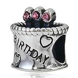 Bling Pink Crystal Happy Birthday Cake Birthstone Bead Fits Pandora Charms Bracelet