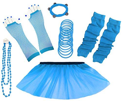 A-Express 80er Damen Neon Tütü Rock Ebene Beinstulpen Handschuhe Halskette Tüll Fluo Ballett Verkleidung Party Tutu Rock Kostüm Set (36-44, (Erwachsene Für Tutus Blau)