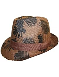 Adults Unisex Surf Printed Straw Summer Trilby Hat