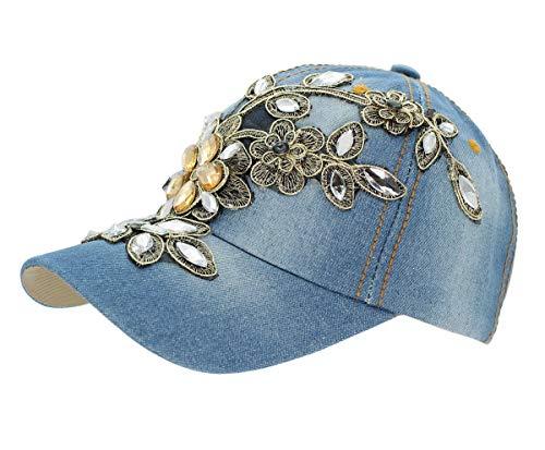 Kappe Basecap Baseball Cap Mütze Kappe mit Strasssteinen Glitzer - K003 (K003-Hellblau) ()