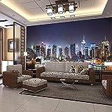 LONGYUCHEN Benutzerdefinierte Seide Wandbild Tapete 3D New York City Nachtlandschaft Wandbild Wohnzimmer Sofa Tv Hintergrund Nahtlose Wandbild,200Cm(H)×300Cm(W)