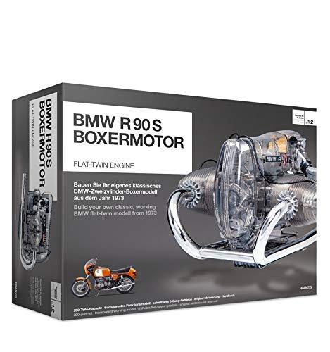 FRANZIS | BMW R 90 S Boxermotor | Motor Bausatz ab 14 Jahren | 200-Teile - transparentes, voll funktionsfähiges Motormodell - reich bebildertes Handbuch | Basteln für Motorrad und Auto Fans