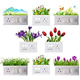 GLOBAL GRAPHICS Switch Penal Sticker of Beautiful Grasses and Colorful butterflyes for decoretive Your home's Switch Board(PVC Vinyl Sticker, Multicolor)