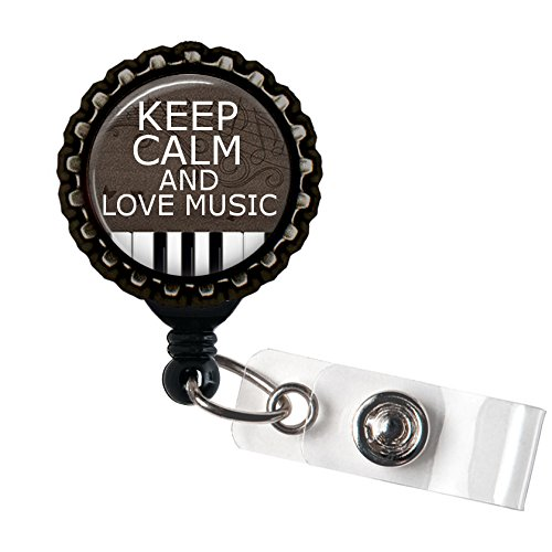 Keep Calm and Love Music Black Kunstharz Retractable Badge Reel ID Holder