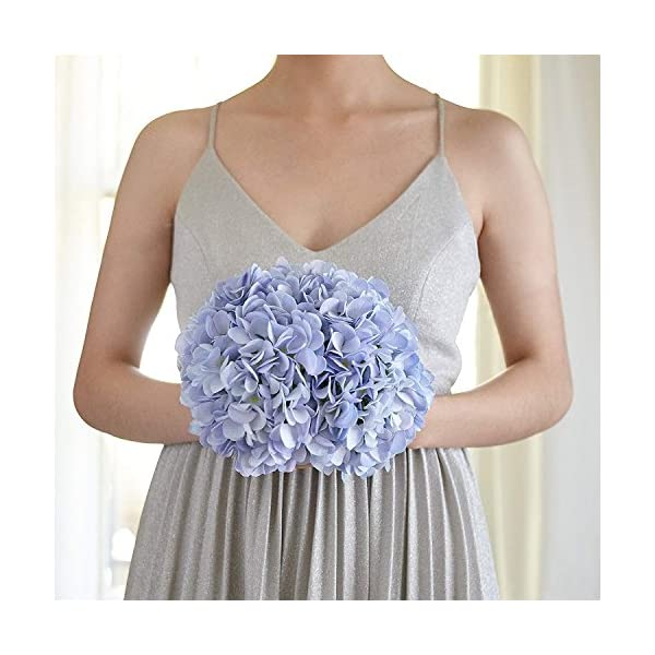 Frmarche Flores Artificiales Flores de Seda Hortensias Ramos para Boda Hogar Fiesta Decoración 2PCS (Azul)