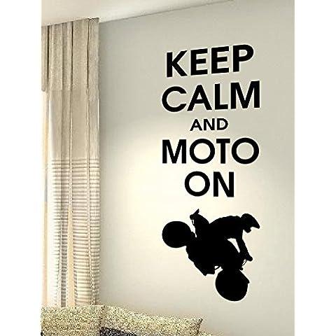 Keep Calm y Moto sobre–ciclismo deporte hobby corazón vida familiar amor casa juntos cita de pared Adhesivos de vinilo pegatinas Art Decor