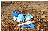 Faironly 4 Stück Baby Sommer Strand Sand Spielzeug Basics Set inkl. Sand Truck Gießkanne, Rechen und Schaufel für Kinder ab 18 Monaten blau
