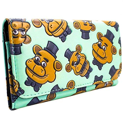 Fazbear Five Nights Big Head Freddy Blue Coin & Card Tri-Fold Purse