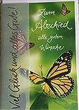 Glueckwunschkarte, Aufklappkarte, Karte mit Umschlag, Spruchkarte, Abschied'Zum Abschied alle guten Wuensche'