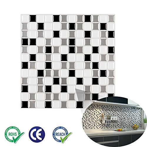 "Ecoart Wall Tile Stickers Peel and Stick Self-Adhesive Wall Tile with Mosaic Effect for Kitcheh Bathroom Backsplash Black Grey White 10"" X 10"" Pack of 6 (3D,Heat resistant,Waterproof)"