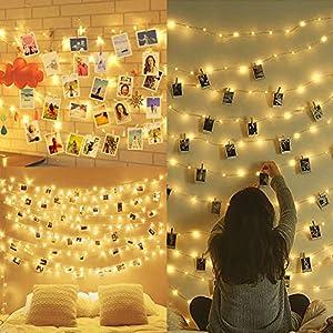 Amteker LED Foto Clip Lichterketten für Zimmer, 100 LED 10M Bilderrahmen dekor für innen, Haus, Weihnachten, Hochzeit…