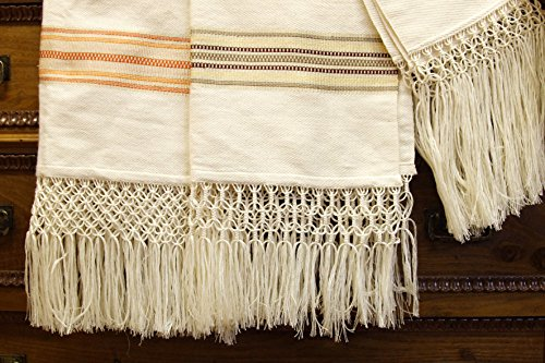 Asciugamani in lino con frangia annodata