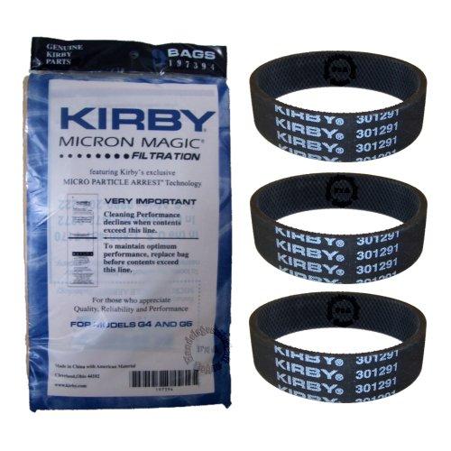 Original Kirby Filter - Filtertüten 9er pack - Serie G4 - G5 + 3 Flachriemen (197394+301291) -