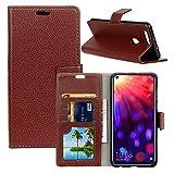 Qoosea Huawei Honor View 20 Funda Litchi Grain Funda Ultra Delgada Funda Protectora Elegante Cuero Magnético PU [Flip Stand Sleep Function] Case Cover Marrón
