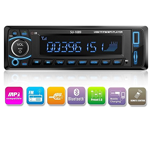 Autoradio Auto-Stereoanlage - Einzelne Din-Stecker-Version - Bluetooth am Armaturenbrett - Fernbedienung - Digitaler Medienempfänger - USB/SD/Audio-Empfänger/MP3-Player/UKW-Radio von Kidcia