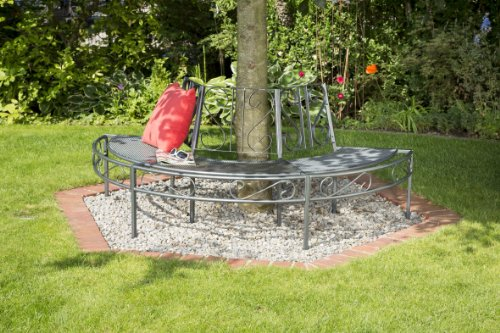 greemotion Toulouse Plastic-coated Steel Tree Bench, Semi Circle Tree Bench Seat, Weather-resistant Garden Round Bench, Half Round Park Tree Bench, Outdoor Patio Chair Bench, approx. 195 x 100 x 83 cm, Max. Load up to approx. 330 kg, Grey - 2