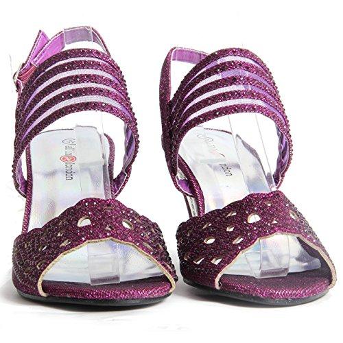 Femmes Cintillant Diamant Bloque Chaussures Talon Soirée Boucle Up Sandales Pourpre