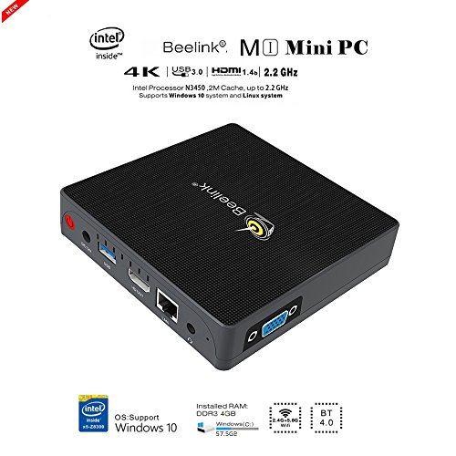 Mini PC, Desktop Computer, ( Beelink M1, Apollo Lake N3450, HD Graphics, 4GB / 64 GB, Gigabit Ethernet, 4K, USB3.0, Dual-Band Wi-Fi, Dual Output - VGA&HDMI ) MINI PC Windows 10, Mini Computer (4G/64G(Beelink m1))