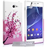 YouSave Accessories SE-HA02-Z663 Etui en silicone gel pour Sony Xperia M2 Rose/Blanc