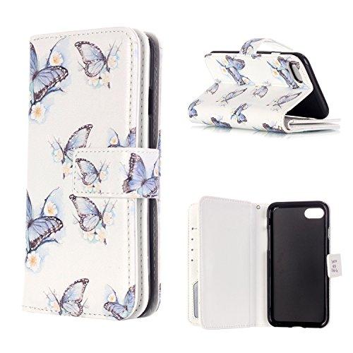 MOONCASE iPhone 7 Coque,[Deer and Tower] Relief Multifonction Fentes de Cartes Housse en Cuir Etui à rabat Case avec Portefeuille Béquille Fermeture Magnétique pour iPhone 7 4.7 Inch(2016) Butterfly