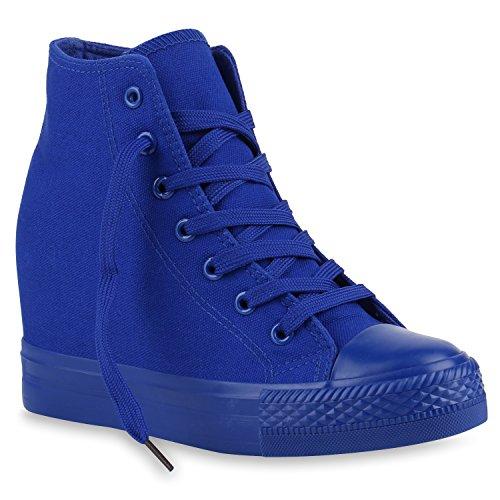 Stiefelparadies Damen Sneakers Keilabsatz Sneaker-Wedges Trendfarben Stoffschuhe 139854 Blau Blau 37 Flandell