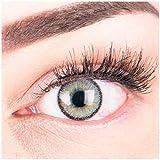 """Sehr stark deckende und natürliche graue Kontaktlinsen SILIKON COMFORT NEUHEIT farbig """"Mirel Grey"""" + Behälter von GLAMLENS - 1 Paar (2 Stück) - DIA 14.00 - mit Stärke -3.50 Dioptrien"""