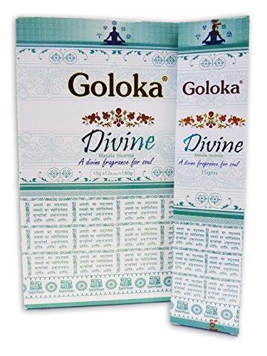 Goloka - Set di 12 Bastoncini di Incenso, Aroma: Divine, 15 gr