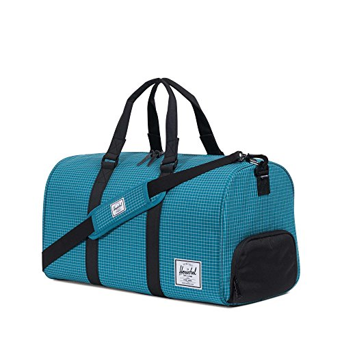 Herschel Novel Duffle, Bag, Tasche, 600D Poly, 00516, Black Crosshatch/Black ocean depths