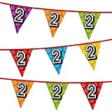Number 2 Multi Colour Penant Banner Bunting Birthday Party Anniversary