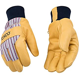Kinco 1927KW-XS-1 Premium grain pigskin palm, OttoTM striped fabric back, Snug 100% polyester knit wrist to retain warmth, Heatkeep lining, Size: XS