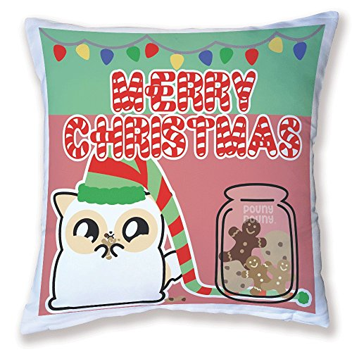 Coussin Décoration Pouny Pouny Merry christmas (Edition limitée Noël 2016) Guirlande lumineuse, Cookies et biscuits, Chibi et kawaii - Fabriqué en France - Licence officielle Pouny Pouny - Chamalow Shop