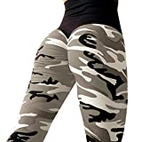 ❤️ Yogahosen Strumpfhose Damen,ABsoar Frauen Tarnung Printed Blumenmuster sexy Yoga Hosen Sporthose Frauen Dünne Fitnesshose Leggings (M, Grau)